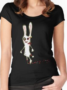 zombie bunny rabbit t-shirt Women's Fitted Scoop T-Shirt