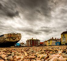 Aldeburgh Beach with boats and colourful houses by sticklepix
