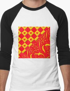 Red and Yellow Butterfly Design Men's Baseball ¾ T-Shirt