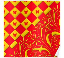 Red and Yellow Butterfly Design Poster