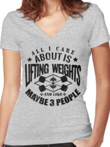 Bodybuilding Lifting Weights Gym Women's Fitted V-Neck T-Shirt