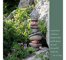 Balancing Stones With Tao Quote Photographic Print