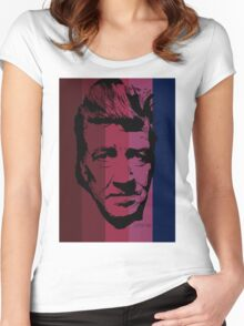 David Lynch in stripy background! Women's Fitted Scoop T-Shirt