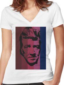 David Lynch in stripy background! Women's Fitted V-Neck T-Shirt