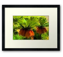 Showy Orange Crown Imperial Flowers - Impressions Of Spring Framed Print