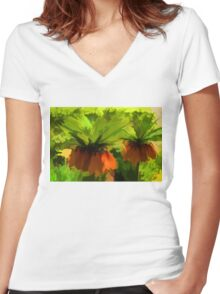 Showy Orange Crown Imperial Flowers - Impressions Of Spring Women's Fitted V-Neck T-Shirt