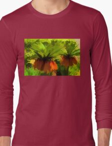 Showy Orange Crown Imperial Flowers - Impressions Of Spring Long Sleeve T-Shirt
