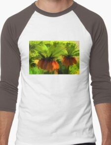Showy Orange Crown Imperial Flowers - Impressions Of Spring Men's Baseball ¾ T-Shirt