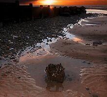Sunset On Cleveleys Beach by John Hare