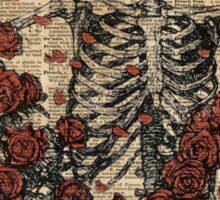 Skeleton art, skeleton with roses book art,human anatomy Sticker