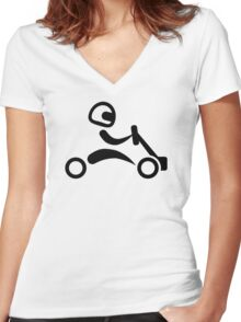 Kart racing Women's Fitted V-Neck T-Shirt