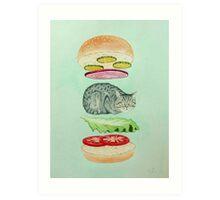Catsup - Cat Burger Delight! Art Print
