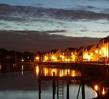 Lights on Wivenhoe Quay by bryanrqueen