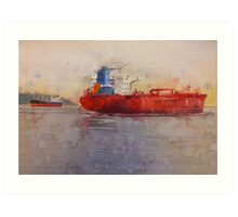Freighters, watercolor on paper Art Print