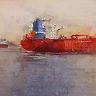 Freighters, watercolor on paper by Sandrine Pelissier
