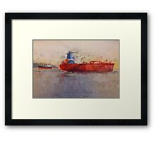 Freighters, watercolor on paper Framed Print