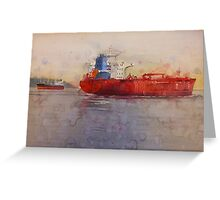 Freighters, watercolor on paper Greeting Card