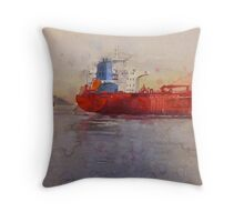 Freighters, watercolor on paper Throw Pillow