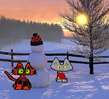 Two Cats Show Of  A Snowman by JohnsCatzz