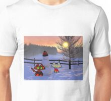 Two Cats Show Of  A Snowman Unisex T-Shirt