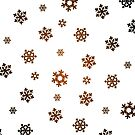 Snowflakes (Bronze and Black on White) by Paul James Farr
