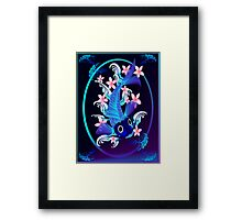 Blue Koi-Pink Flowers Oval Poster Framed Print