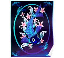 Blue Koi-Pink Flowers Oval Poster Poster