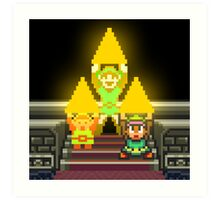 Link Evolution with Triforce Art Print