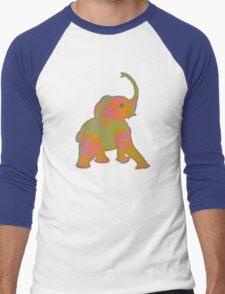 Baby Elephant Green Patch Men's Baseball ¾ T-Shirt