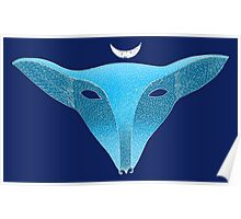 Blue fox mask with moon Poster