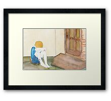He waited and waited outside their door but they never came to help Framed Print