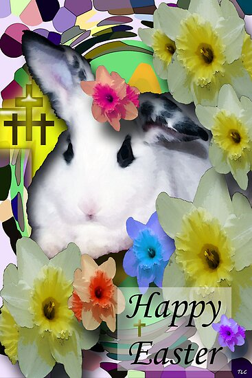 Happy Easter Bunny Greeting by Terri Chandler