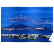Blue Night in Naples - Mediterranean Impressions Poster