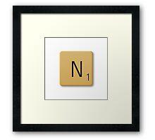 Scrabble Tile - N Framed Print