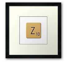 Scrabble Tile - Z Framed Print