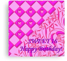 Hot Pink Butterfly Sweet 16 Canvas Print