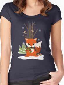 Cute red / green scarf Fox in a snowy forest Women's Fitted Scoop T-Shirt