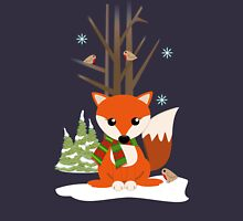 Cute red / green scarf Fox in a snowy forest Womens Fitted T-Shirt