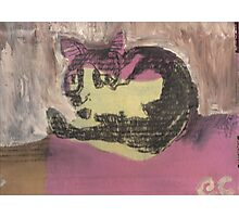 My black and white cat - Henry (mixed media on cardboard) Photographic Print
