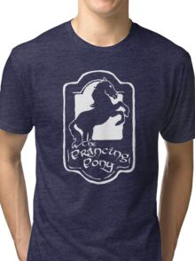 White Prancing Pony  Tri-blend T-Shirt