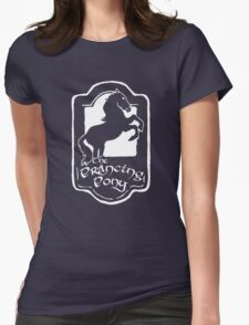 White Prancing Pony  Womens Fitted T-Shirt