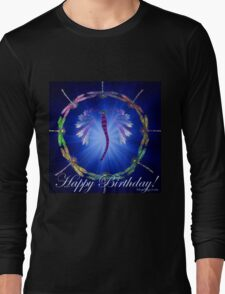 Blue Dragonfly Dance Birthday Design  Long Sleeve T-Shirt