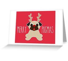 Merry Pugmas Fawn Pug Reindeer Greeting Card