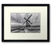 Dutch Windmill in Greyscale Framed Print