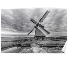 Dutch Windmill in Greyscale Poster