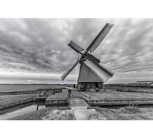 Dutch Windmill in Greyscale Photographic Print