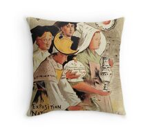 French belle epoque pottery expo advertising Throw Pillow