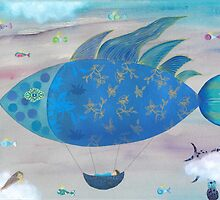Flying Fish in Sea of Clouds with Sleeping Child by Sukilopi