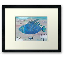 Flying Fish in Sea of Clouds with Sleeping Child Framed Print
