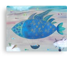 Flying Fish in Sea of Clouds with Sleeping Child Canvas Print